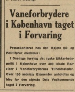 Tyskerne tvangsindrykkede telegrammer i de danske aviser om aktionerne mod de såkaldt asociale og vanekriminelle. Klippet stammer fra Kristeligt Dagblad.