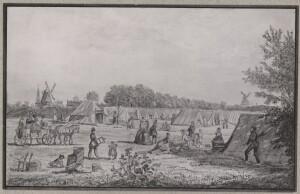 Der findes ikke billeder fra koleratiden i Hillerød, men i København blev der oprettet store lejre uden for voldene. Billedet er fra Det Kongelige Bibliotek