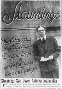 Ekstra Bladet bragte dette fotografi af Søren Stauning, da han som 22-årig åbnede antikvarboghandel i København i april 1945.